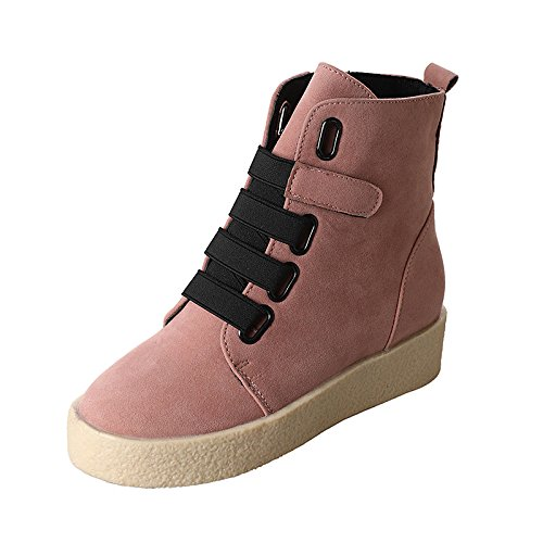 ZHZNVX Boots Round Boots Pink Winter Booties Ankle for Toe Flat Shoes Pink Lining Casual Boots Fashion PU HSXZ Women's Black Comfort Fluff qqCvr