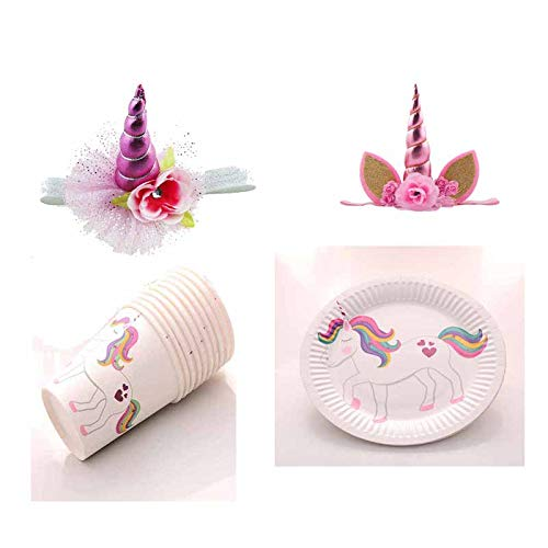TreeMart Unicorn sets Theme party Disposable tableware paper cup dishes Unicorn Horn Headband Hat for boy girl Birthday Baby Shower -