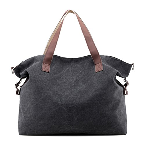 Trendy Canvas Tote Handbag Shoulder Bags for Women (Black) - 2