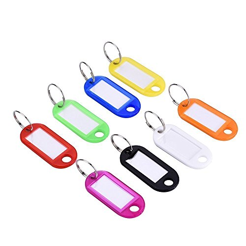 Uniclife 100Pcs Colorful Key Id Label Tags Split Ring Keyring Keychain, Random Assorted Colors