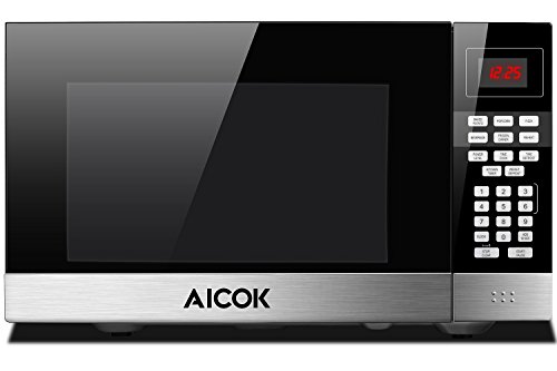 Microwave Oven 1.1 cu. ft. Aicok Countertop Microwave Multi-Stage Sensor Cooking, Touch Control Panel with ECO Mode and Sound On/Off, Popcorn Button, Auto Weight & Time Defrost, Child-Safe Lock, 900W by Aicok