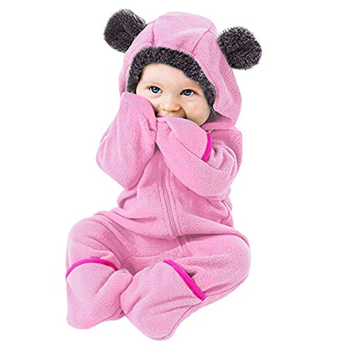 Christmas Deals!Infant Toddler Baby Girls Boys Outfit -Cartoon Ears Hoodie Romper Zip Clothes Jumpsuit (Pink, 3-6 Months)