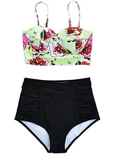f27f790f74 Zando Kawaii Juniors Swimsuit Plus Size Vintage Swimwear Midkini Strappy  Flower Bikini High Waist Bath Suits for Women