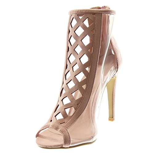 Shoes Thongs Heel cm High Fancy Transparent Stiletto Stiletto 5 Booty Chic Angkorly Crossed Peep 10 Pink Women's Fashion Toe Ankle Boots OaBqEa