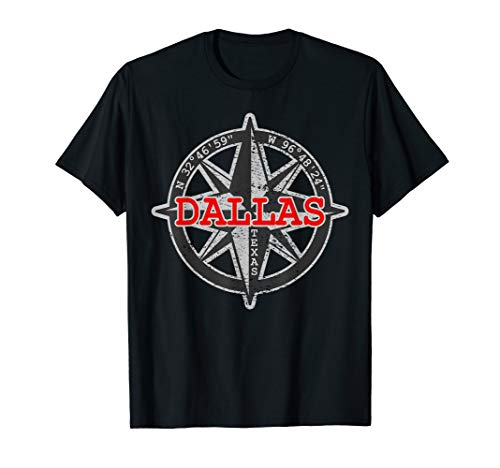 Dallas Texas Compass T-Shirt I Star Map GPS Coordinates -