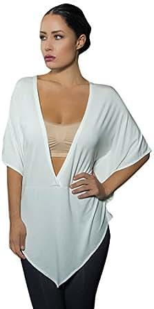 Fuschia Couture Women's Kimono Sleeve Cover-up, Ivory, Small