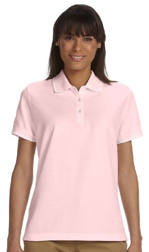 Devon & Jones Ladies Pima Pique Tipped Polo Shirt, Pink/White, - Pima Polo Pique Tipped