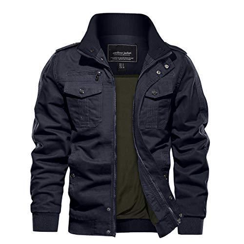 TACVASEN Men's Cotton Jackets Military Cargo Bomber Working Jackets with Multi Pockets Warm Coats