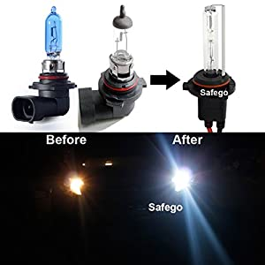 Safego HB4 55W HID Conversion Kit 9006 6000K HID Bulbs Headlight with 2 Slim Alloy HID Ballast Xenon Lights For Car AC12V 55W