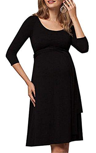 Allacciatura Donna Girocollo a Puro Prémaman 4 3 Dress Moda Popolare Estive Casual Vestito ZONVENL Abito Comoda Colore Manica Black Per Abito Allattamento TdnOwFq