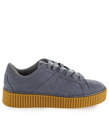 Gold Vegan FASHION RF 's Top Lace Fashion up Creepers ROOM Platform Women Tenis 6 Low Shiny gris Flatform 5 OF Suede Metallic RRxErCwaq