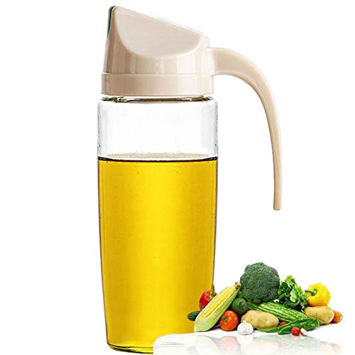 (Drip Free Olive Oil Dispenser, Glass Salad Dressing Bottle, Vinegar Dispensing Cruets, Cooking Oil Condiment Containers and Easy Pouring Spout for Kitchen by Marbrasse (Apricot))