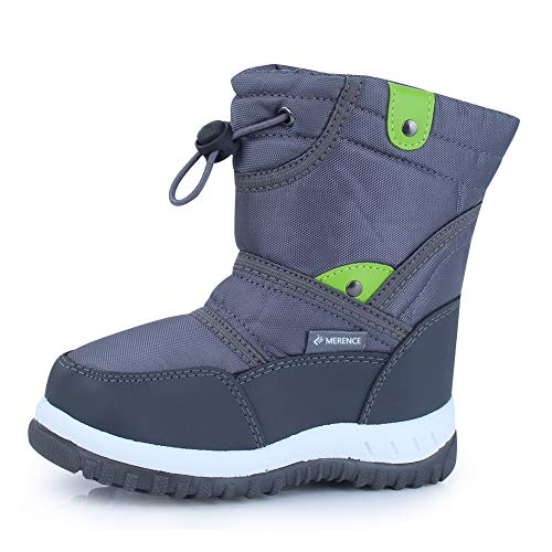 CIOR Winter Snow Boots for Boy and Girl Outdoor Waterproof with Fur Lined(Toddler/Little Kids) U118WXZ014-gray-27