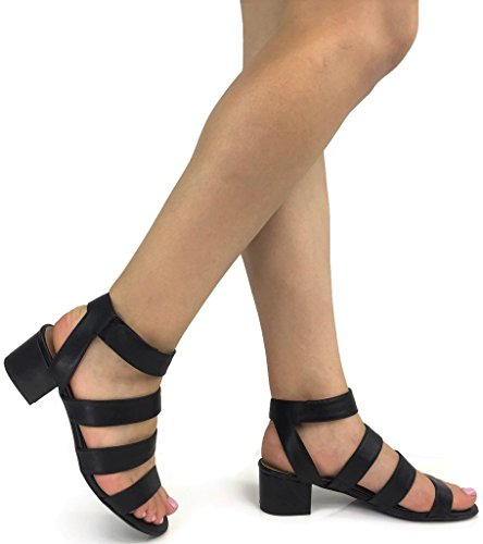 Classified Sandal Open Toe Ankle Wrap Strap Stacked Chunky Heel, Black, 9
