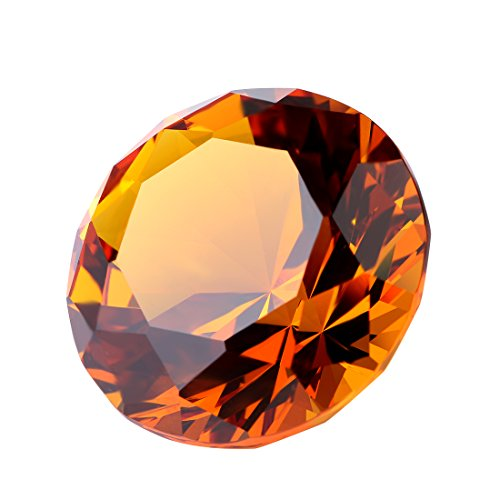 YUFENG 30mm Crystal Diamond Paperweight Polyhedron Shaped Paperweight Gift Home Accent Decoration (amber)