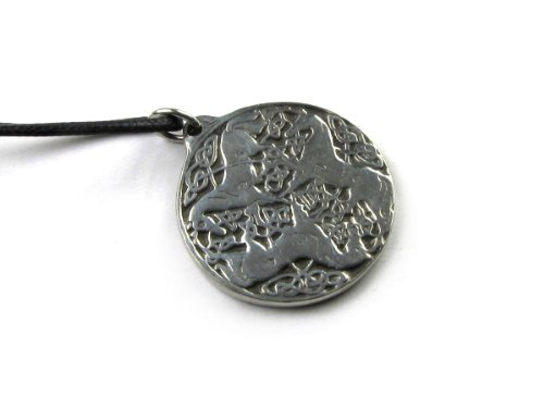 New Pewter Celtic Knot - Talisman of the Three Horses With Celtic Knots Pewter Pendant with Cord Necklace