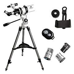 "Specification: ● Type: Refractor● Aperture: 80mm (3. 15"")● Focal Length: 400mm (15. 75"")● Mount: AZ Altazimuth Mount● Eyepiece: K25mm: 16X ; K10mm: 40X; K5mm: 80X● Finderscope: 6*30● Zenith Mirrors: 48°Erecting BAK4 prism● Tripod: stainle..."