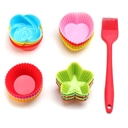 Ieasky Silicone Cupcake Liners Reusable Baking Cups Nonstick Easy Clean Pastry Muffin Molds 4 Shapes Round, Stars, Heart, roses,with Basting Brush,41 PCS Colorful