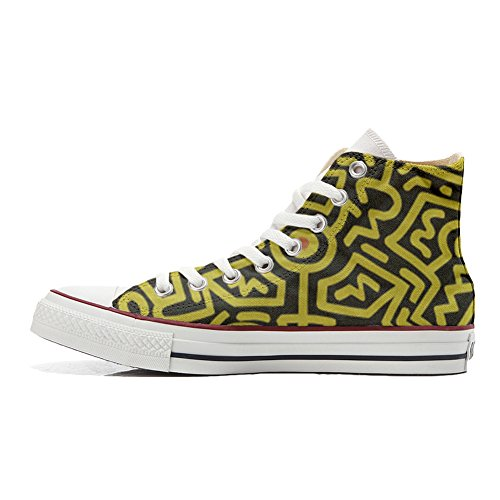 Astratta Make PERSONALIZZATE Artigianale Converse Prodotto Uomo Fantasia Your Star Shoes Donna All Sneaker Hi Canvas fgq6wfrn7