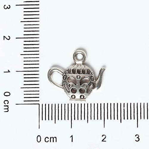Lindsie-Box 14pcs 16x18mm Zinc Alloy Antique Silver Hollow Teapot DIY Charms Pendants