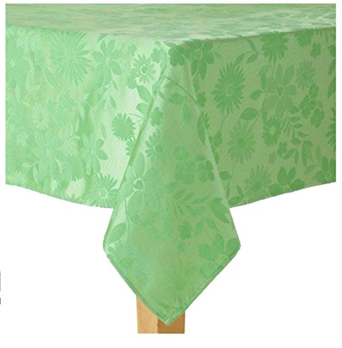 - Spring Floral Mint Green Embossed Fabric Tablecloth 70