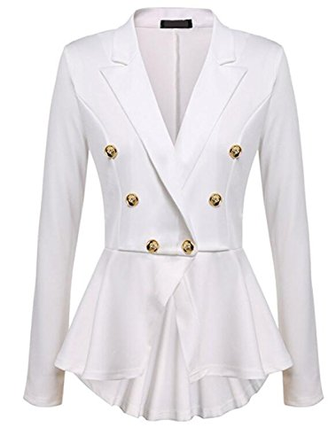 Ladies Hacking Jackets - JIANGTAOLANG Fashion Slim Fit Womens White Blue Ladies Blazer Office Jacket Solid Button Plus Size