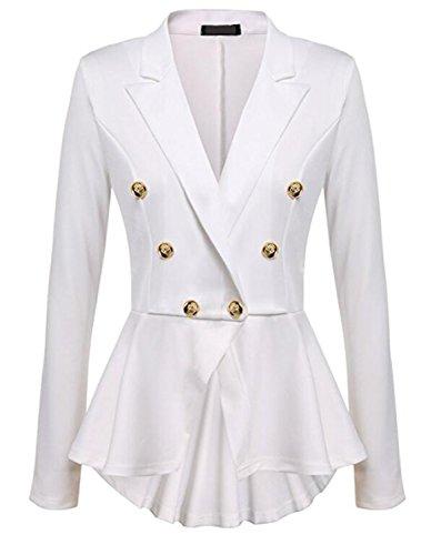JIANGTAOLANG Fashion Slim Fit Womens White Blue Ladies Blazer Office Jacket Solid Button Plus Size