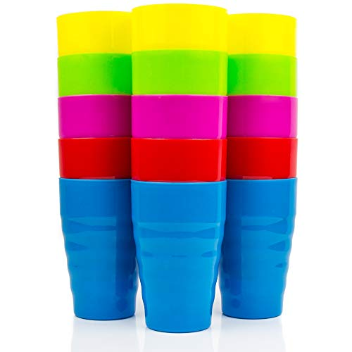 Set of 15 Reusable Plastic Cups- 15 oz Drinking Cups for Kids - BPA Free Cups -Dishwasher Safe Cups - Assorted Colored Cups - Great Plastic Cups For Kids - Party & Picnic ()