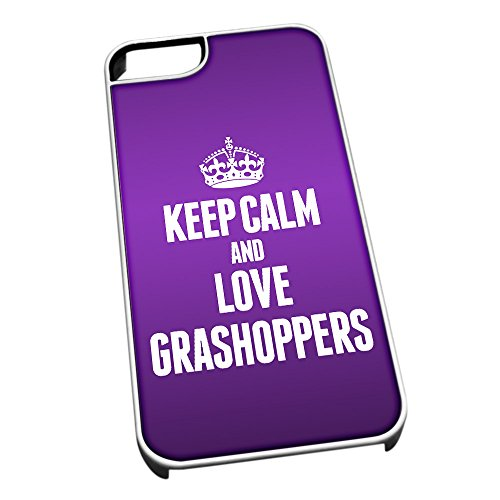 Bianco cover per iPhone 5/5S 2431 viola Keep Calm and Love Grashoppers