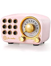 Retro Bluetooth Speaker, Vintage Radio-Greadio FM Radio with Old Fashioned Classic Style, Strong Bass Enhancement, Loud Volume, Bluetooth 4.2 Wireless Connection, TF Card and MP3 Player (Pink)