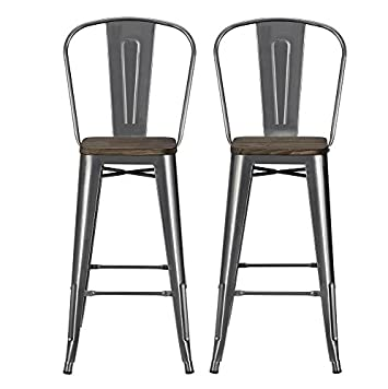 DHP Luxor Metal Counter Stool with Wood Seat and Backrest, Set of two, 30 , Antique Gun Metal