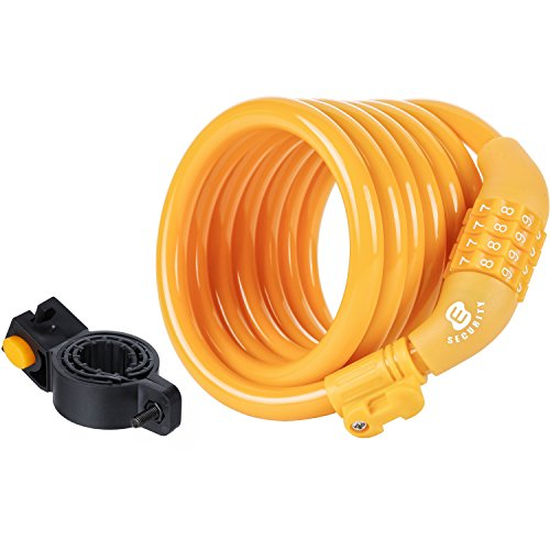 Etronic Security Bike Lock Self Coiling Resettable Combination Lock Bike Cable Lock, 6-Feet x 3/8-Inch - Yellow