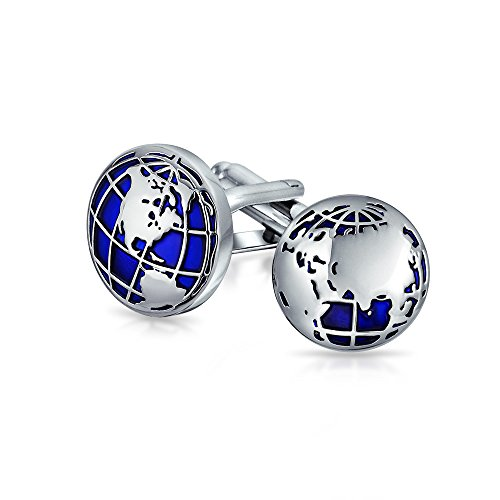 (Bling Jewelry Globe World Map Blue Round Cufflinks for Men Shirt Cuff Links Hinge Back Silver Tone Brass Steel)