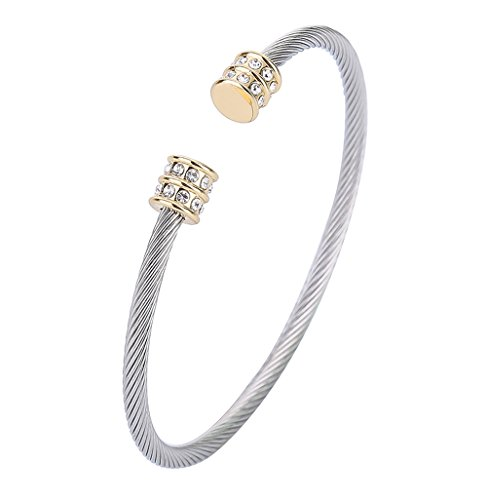 3MM Twisted Wire Cuff Bangle Stainless Steel Clear CZ Cable Bracelet for - Two Tone Twist