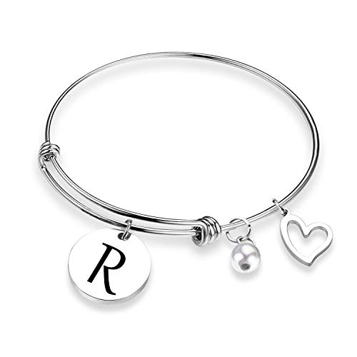 ZNTINA Initial Bracelet Letter Bracelet with Heart Charm Personalized Jewelry Wire Bangle Bracelet Gift for her (BR- R)