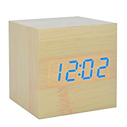 EURDIA LED Wooden Alarm Clock Electronic Digital Home Bedroom Bedside Travel Clocks for Living Room Decoration with Sound Control Function (Bamboo Wood Blue Light)
