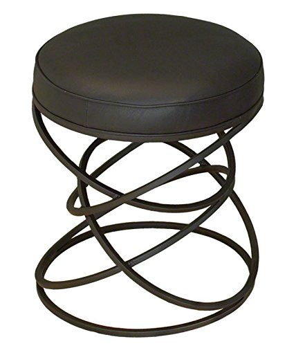 Luxe Entwined Rings Black Cowhide Leather Stool | Iron Circles Metal Round Seat by Global Views (Image #3)
