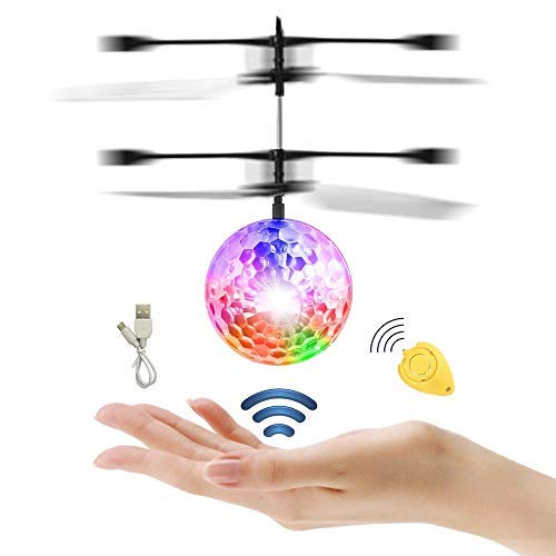 GHONZLIN Flying Ball, Colorful RC Toys with Remote Controller for Kids, Crystal Flashing LED Light Flying Ball RC Toy Infrared Induction Helicopter Heliball for Indoor and Outdoor Games (A2) (Full) by GHONZLIN (Image #1)