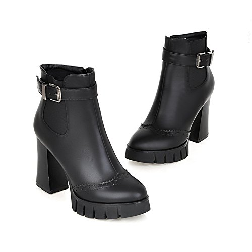Chunky Imitated amp;N Leather Boots Girls Buckle Heels Platform Black A 7R4qfwn