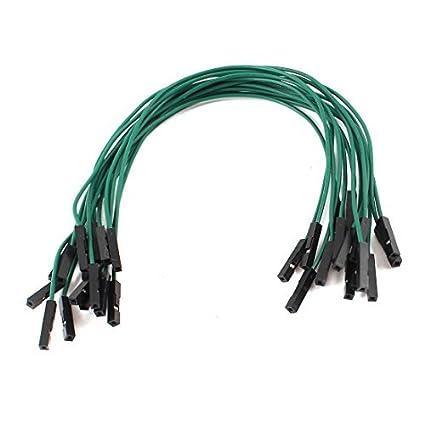 1pin 15pcs de doble cabezal Gato femenino Conector cable de puente verde 20cm