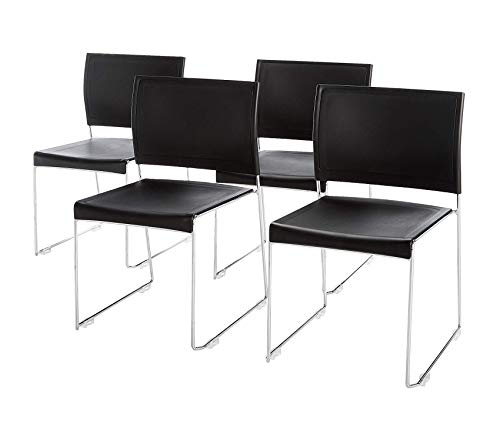 Sаfcо Prоducts Currant Stack Chair with Chrome Frame, Black