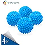 Set of 4 Reusable Non-Toxic Dryer Balls to Replace Liquid Fabric Softener and Dryer Sheet Reduce Drying Time, Alternative Wash Ball for 1000 Washing with Eco-Friendly Hypoallergenic Anti-Static PVC