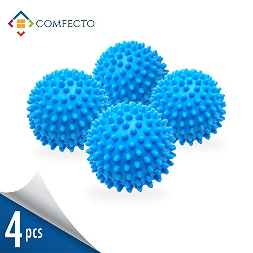 Set of 4 Reusable Dryer Balls to Replace Liquid Fabric Softener and Dryer Sheet Reduce Drying Time, Alternative Wash Ball for 1000 Washing with Eco-Friendly Hypoallergenic Anti-Static PVC