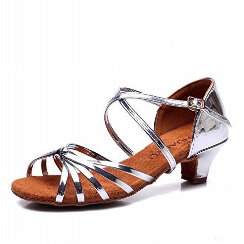 de BYLE Latino Plata Samba Zapatos Jazz Baile de de Baile Cuero 36 Zapatos de Sandalias Tobillo Zapatos Baile Modern Mujer rw8aqrU
