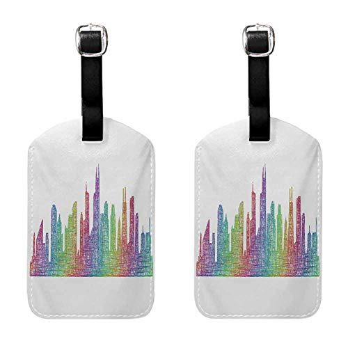 Chicago Skyline Lady luggage tag Abstract City Scene in Mixed Rainbow Tones Modern Featured Artful Kitsch Multicolor (2 PCS)
