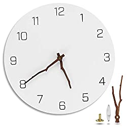 Eliseo 12 inch Silent Non-Ticking Wall Clock Battery Operated, Simple Modern White Round Ultra-Quiet Decorative Wooden Wall Clock with Bough Hands for Living Room Kitchen Home Office