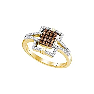 Size - 6.5 - Solid 10k Yellow Gold Round Chocolate Brown And White Diamond Engagement Ring OR Fashion Band Prong Set Emerald-Shape Shaped Halo Ring (1/3 cttw)
