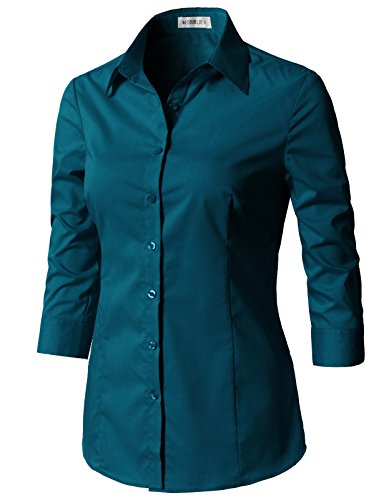 CLOVERY Women's 3/4 Sleeve Cotton Spandex Button Down Shirt Teal XS