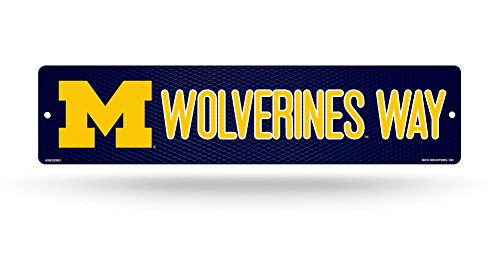 NCAA Michigan Wolverines 16-Inch Plastic Street Sign Décor (Decor Michigan Wall)