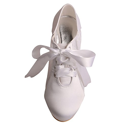Wedopus MW869 Women High Heels Pumps Closed Toe Bootie Lace Satin Ribbon Bridal Wedding Court Shoes White dSQwY